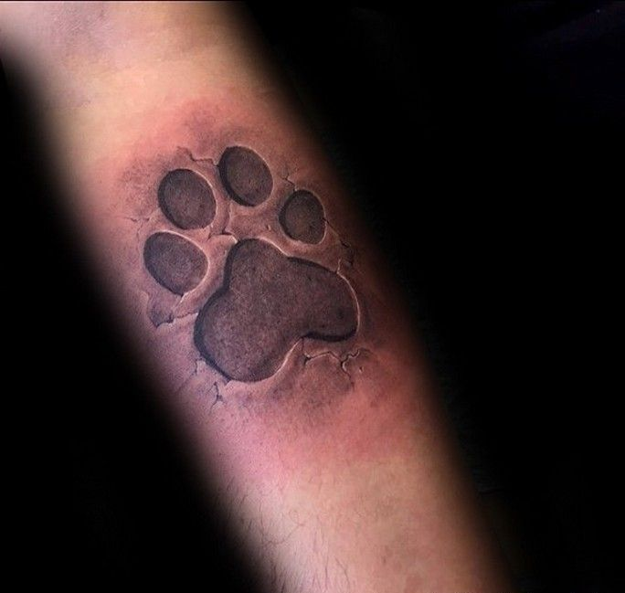 Dog paw print memorial tattoos