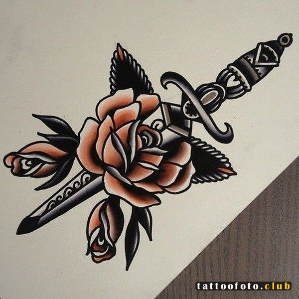 Traditional rose drawing tattoo
